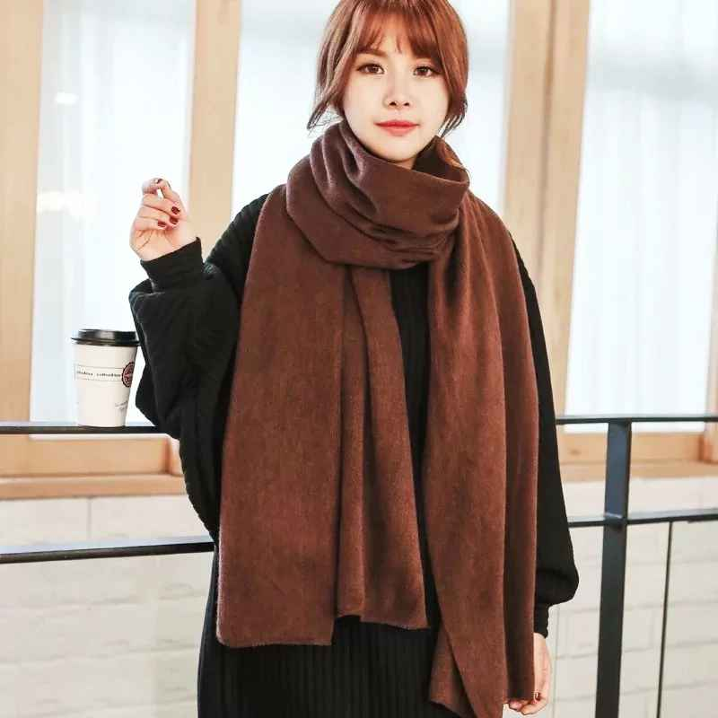 2019 Fashion Winter Women Cashmere Scarf Solid Knit Pashmina Female