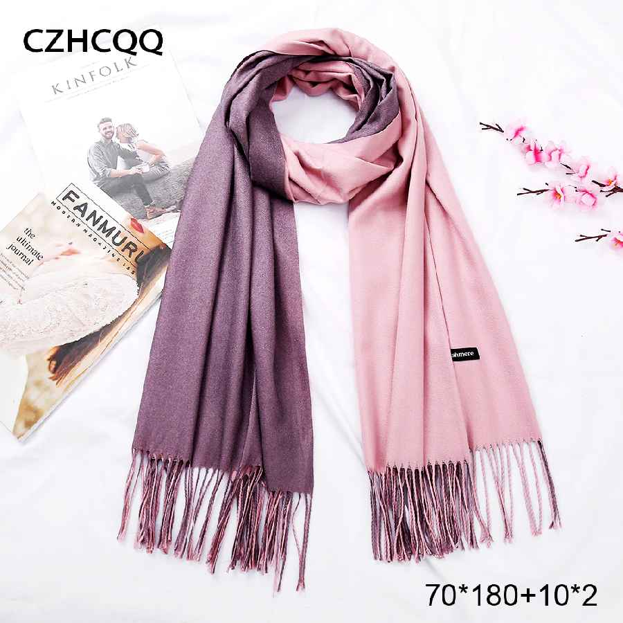 2019 New Double Sided Winter Women Cashmere Solid Scarf Pashmina