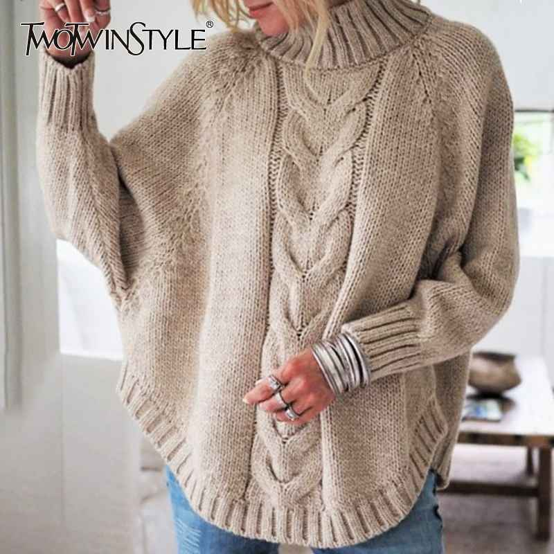 Autumn Thick Sweater For Women Turtleneck Batwing Sleeve Casual Pullovers