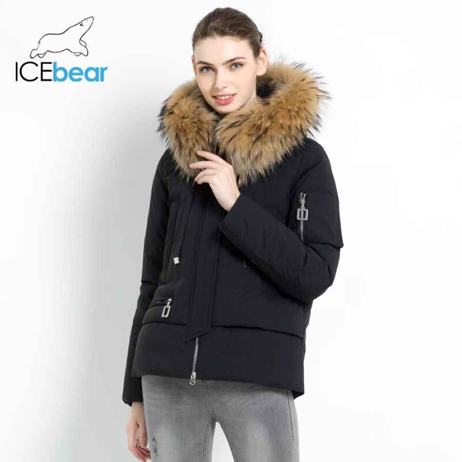 Icebear 2019 New Winter Fur Collar Women s Jacket High Quality