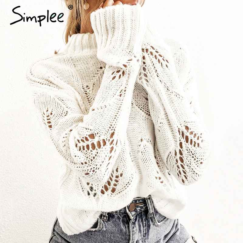Pullover Jumpers Simplee Turtleneck Crohect Hollow Out Women Pullover Sweater
