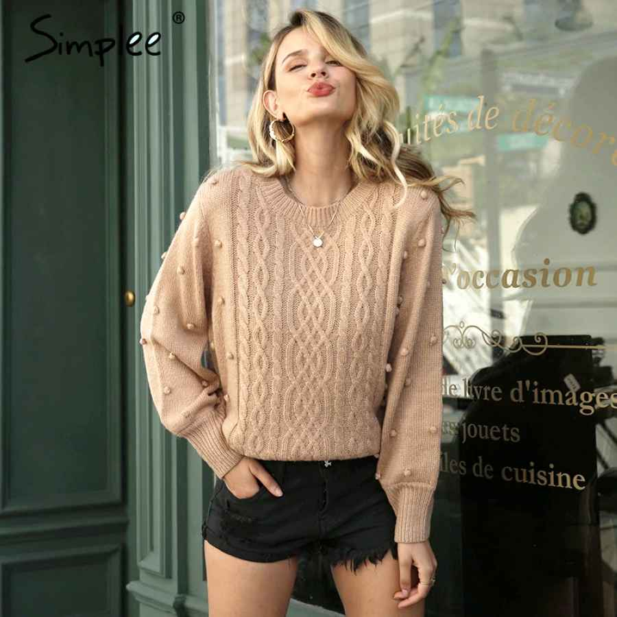 Twisted O-Neck Women Knitted Pullover Sweater Autumn Winter Casual Female