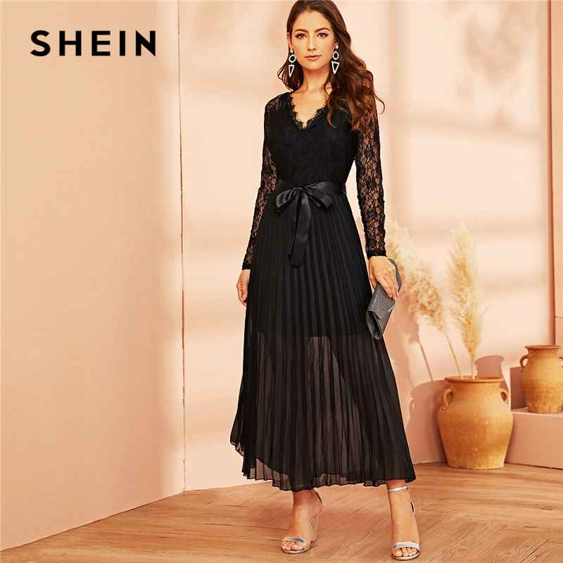 Black Lace Panel Plisse Hem Belted Pleated Sheer Dress Women