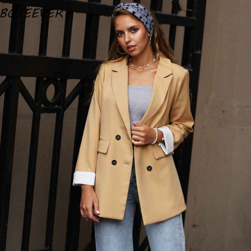 Blazers chic double-breasted women jackets notched-neck yellow women blazer jacket