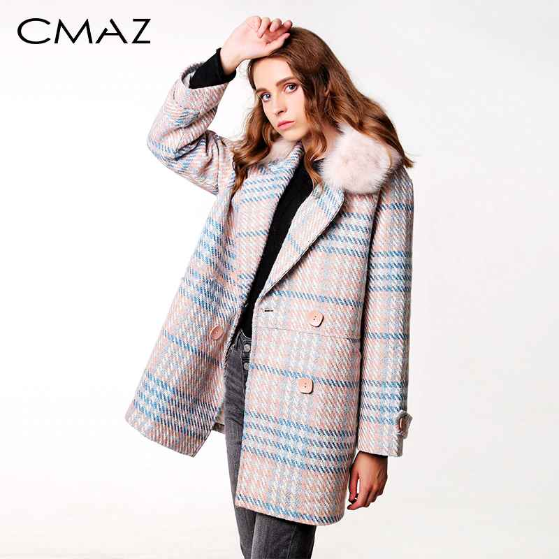 Cmaz 2019 New Women Outerwear Winter Clothing Fashion Warm Woolen