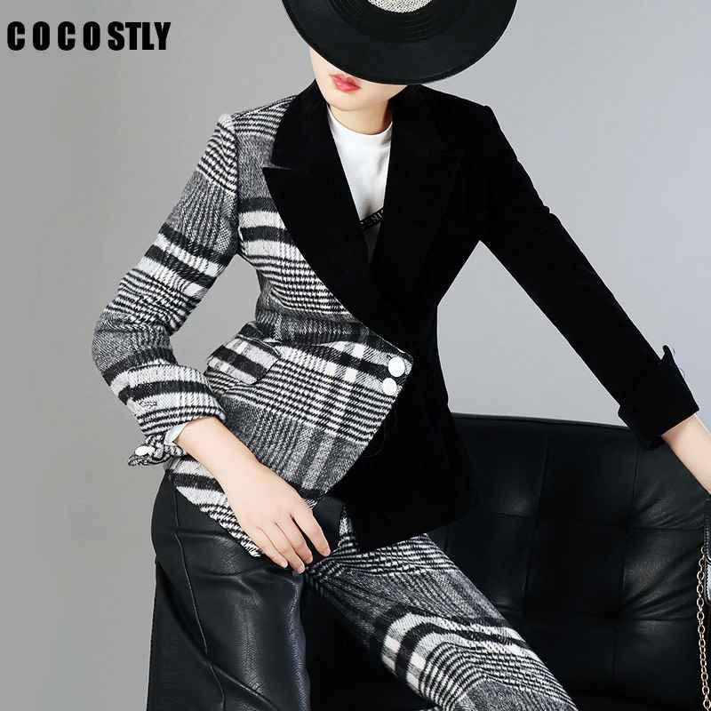 Blazers velour patchwork wool plaid blazer coat female long sleeve