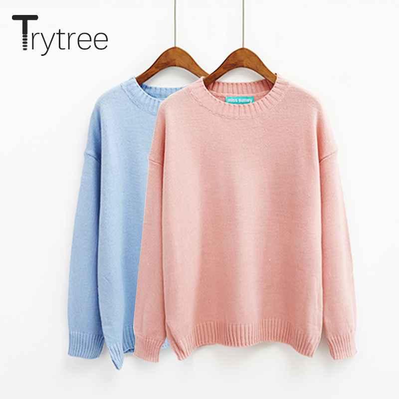 Sweaters trytree autumn winter women sweater casual o-neck acrylic sweater