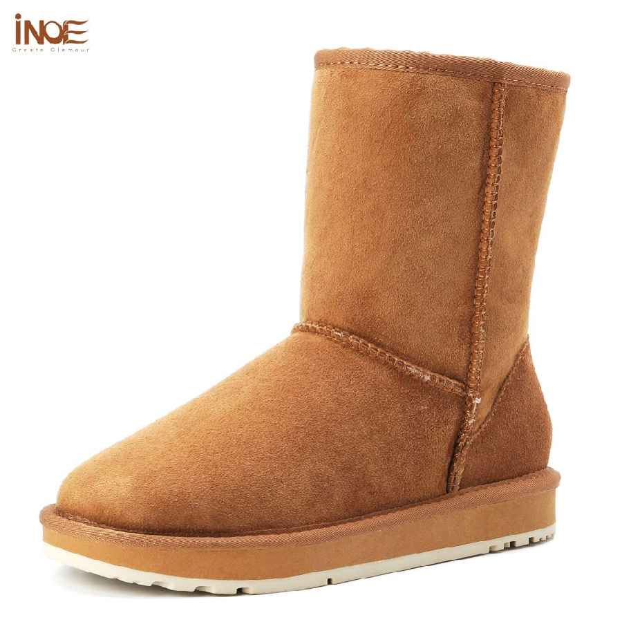 Inoe Basic Winter Snow Boots For Women Sheepskin Suede Leather