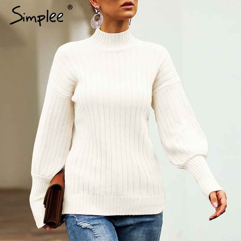 Pullover Jumpers Simplee Turtleneck Yellow Women Knitted Pullover Sweater Autumn