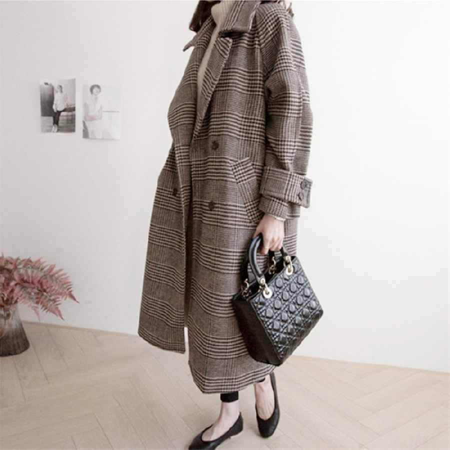 Hzirip Chic Thick Plaid Elegant Coat Woolen Streetwear Warm Windbreaker