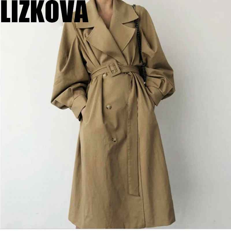 Autumn 2019 Woman Khaki Long Trench Coat British Style Vintage