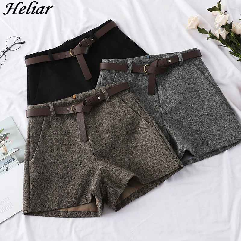 Shorts heliar 2019 autumn winter women fashion woolen shorts outerwear