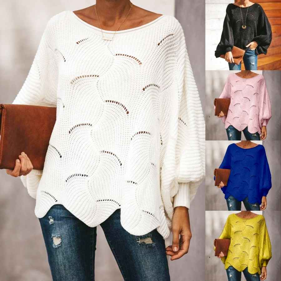 Women Loose Sweater Cloak Casual Oversized Soft Lantern Sleeve Hollow