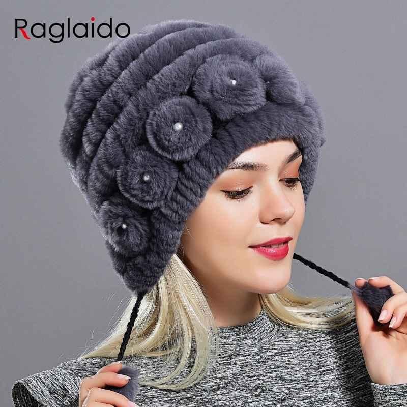 Women s Hat Winter Warm Rabbit Fur Hats With Pearls Fashion