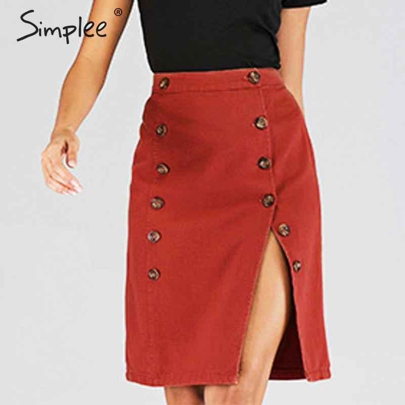 Skirts Simplee Elegant A-Line Split Women Skirt High Waist Button