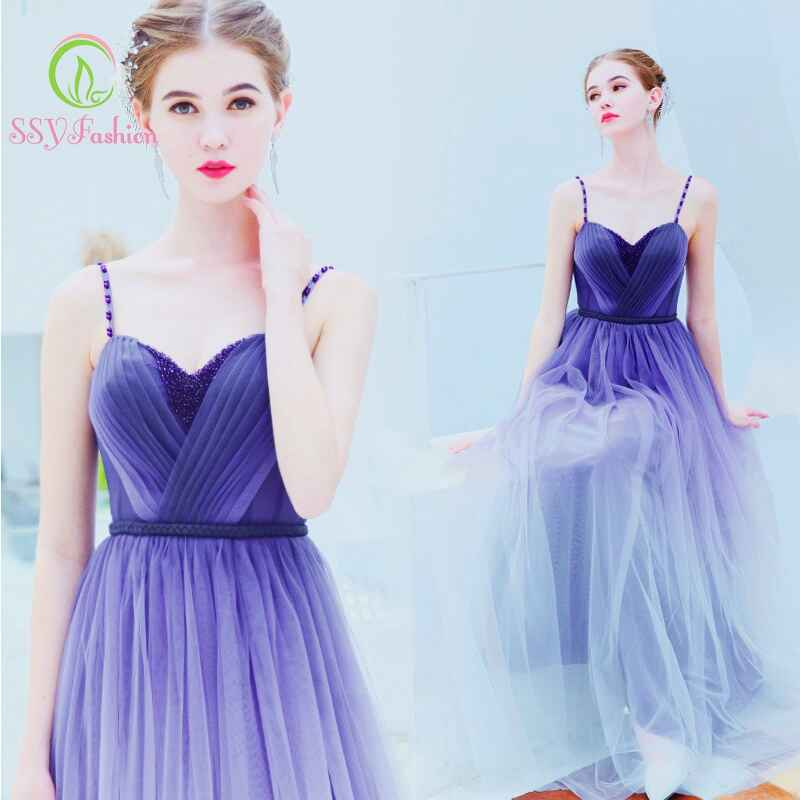 Strap Sleeveless Gradient Purple Long Evening Dress Party Banquet Prom