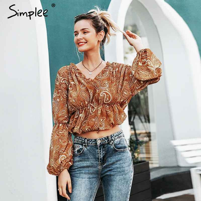 Blouses Shirts Simplee Ruffled V-Neck Women Blouse Shirt Elastic High