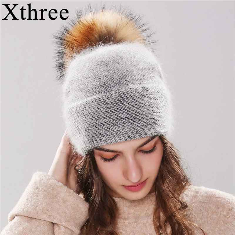 Xthree New Women s Hat Winter Beanie Knitted Hat Angola Rabbit
