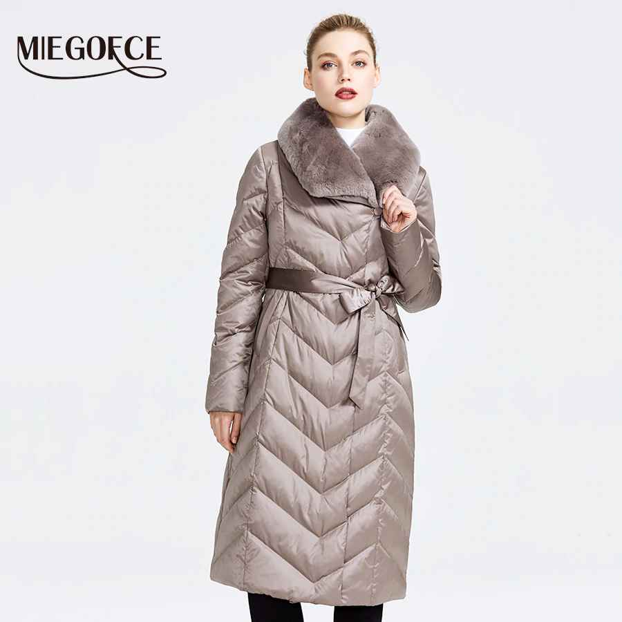 Miegofce 2019 New Collection Women s Jacket With Rabbit Collar Women