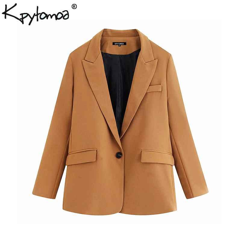 Blazers vintage stylish pockets office lady blazers coat women 2019