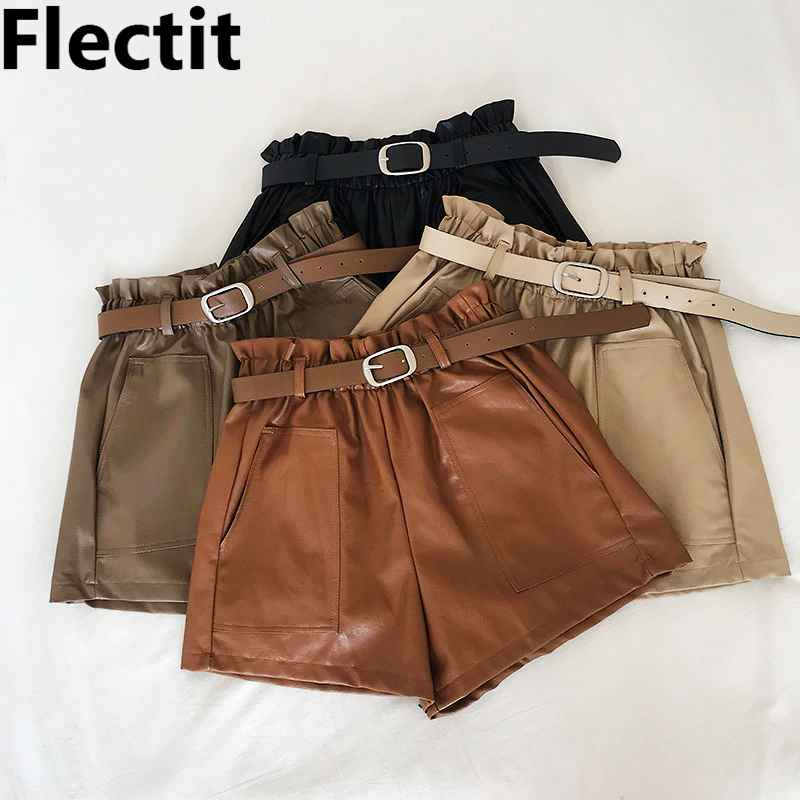 Shorts flectit women paperbag leather shorts with belt front pocket