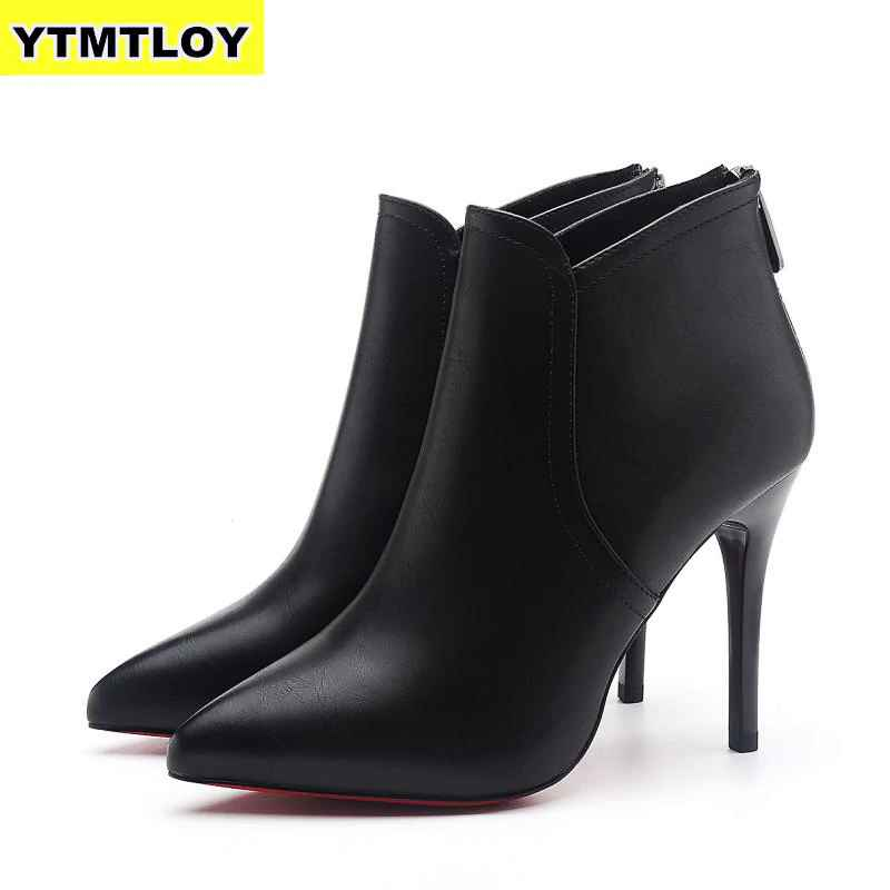 New Women Boots Ankle Pu Leather Zipper Booties High Heels
