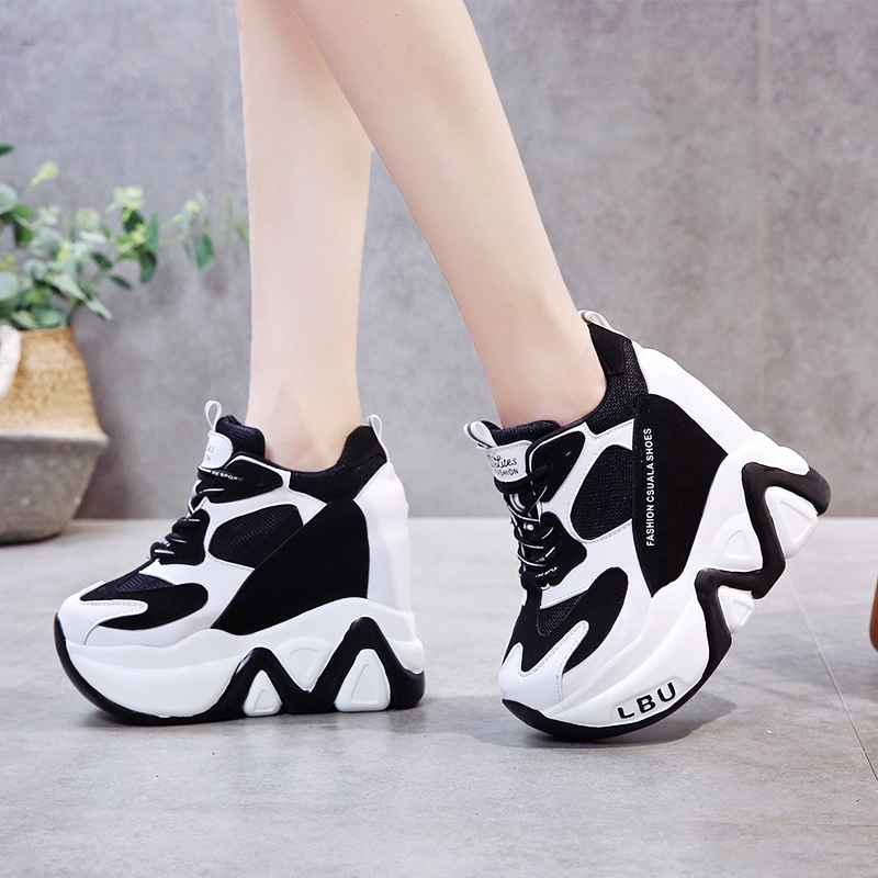 Rimocy Super High Heels Chunky Sneakers Women Autumn Thick Bottom