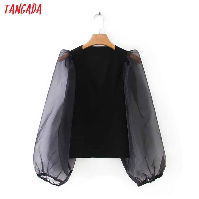 Blouses tangada women stretchy black blouse short style fashion mesh