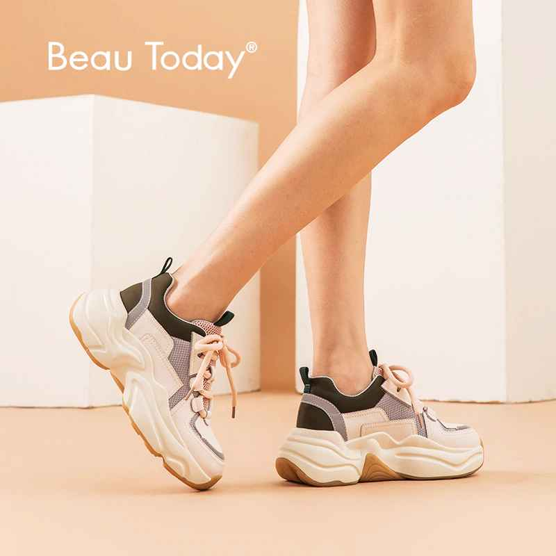 Beautoday Chunky Sneakers Women Genuine Cow Leather Cross-Tied Retro Platform