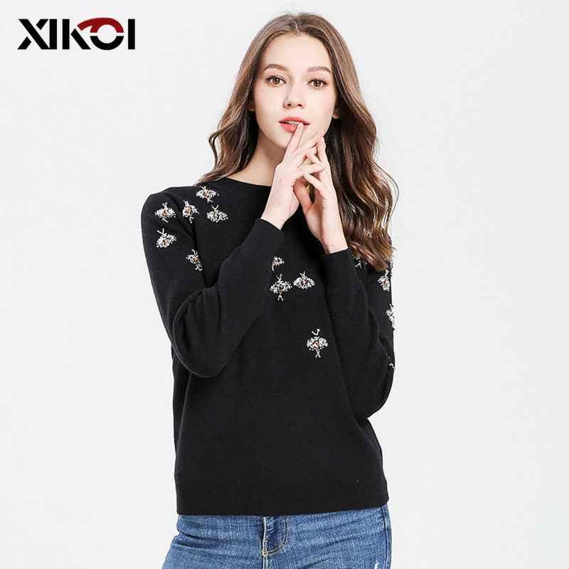 Vintage Bee Beading Long Sleeve Women Sweater 2019 Autumn Winter