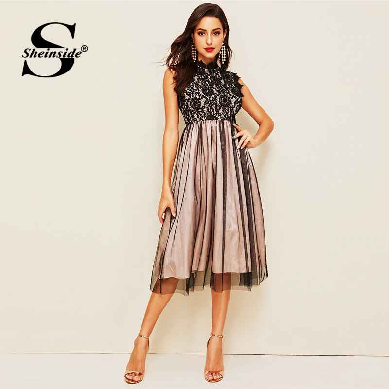 Elegant Stand Collar Guipure Lace Sleeveless Party Dress Women 2019