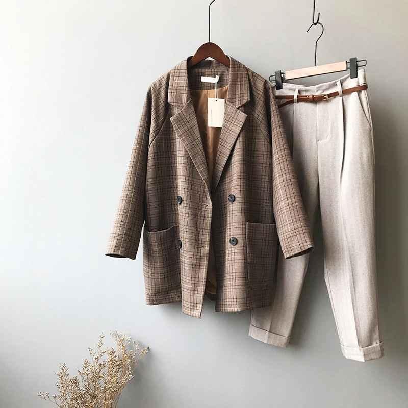 Blazers mooirue summer femme brown balzer jacket plaid elegant coat