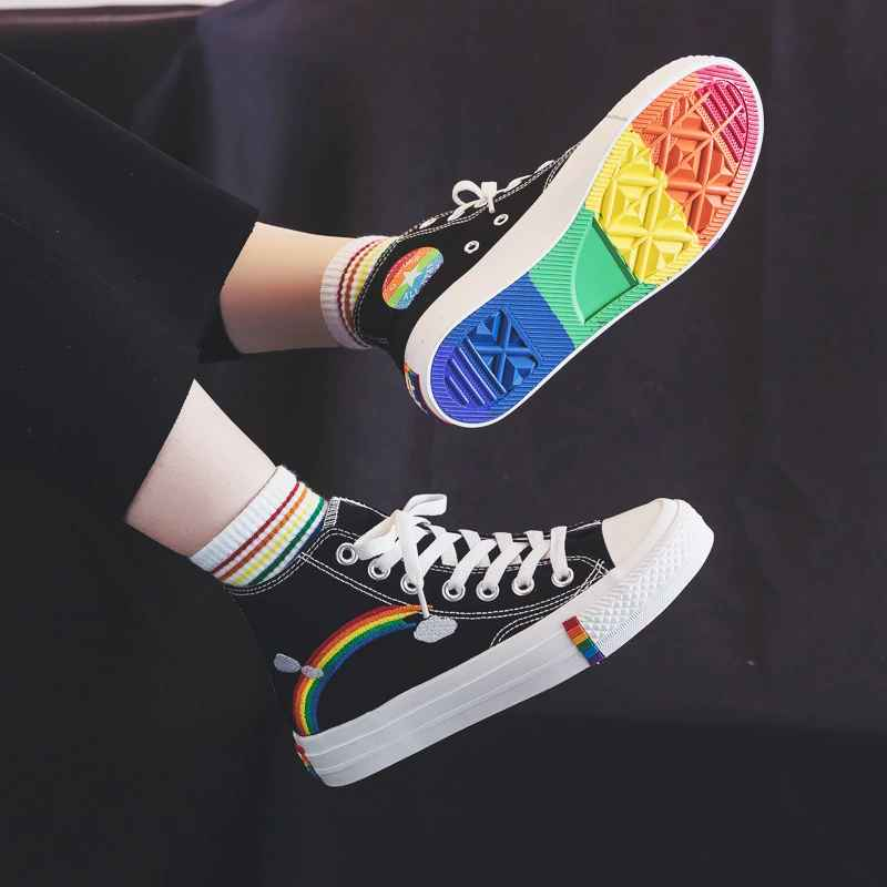 Women Vulcanized Shoes Student 2019 Autumn New Rainbow Retro Canvas