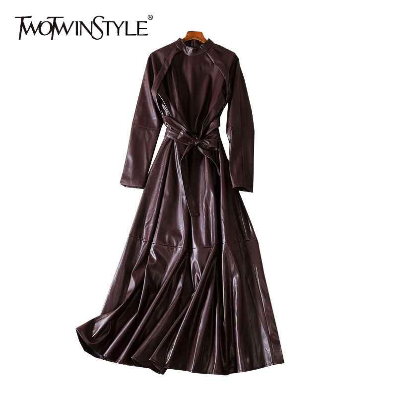 Leather Autumn Dress Women Stand Collar Long Sleeve High Waist