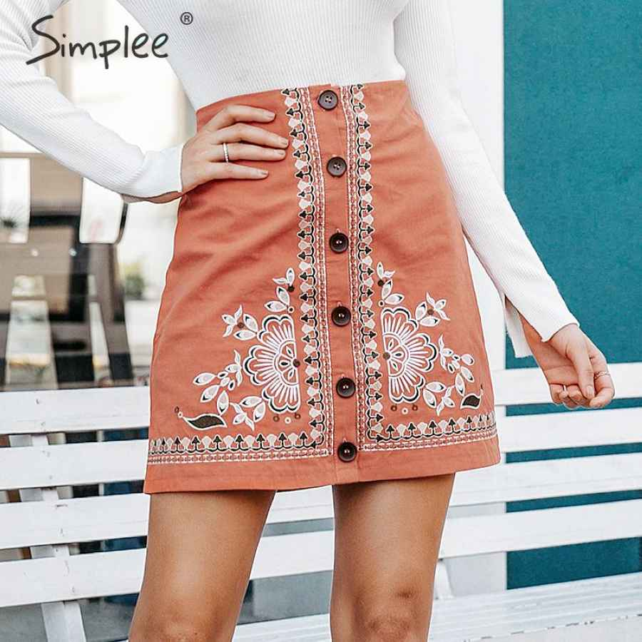 Enthic Vintage Floral Embroidery Women Short Skirt A-Line Button Female