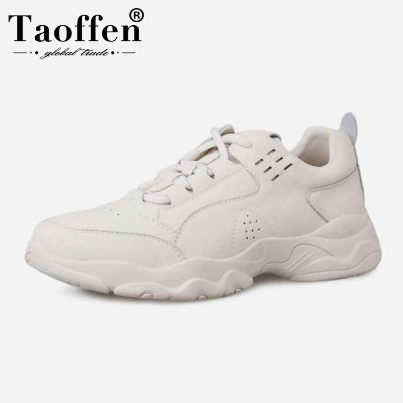Taoffen Women Real Leather Sneakers Shoes Fashion Vulcanized Women Shoes