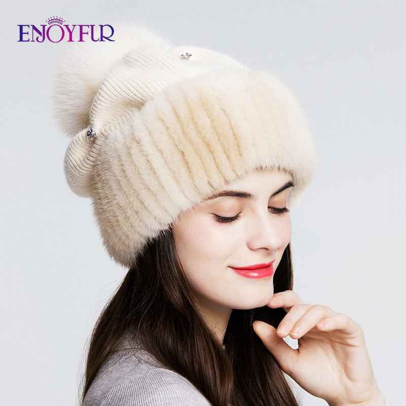 Enjoyfur Mink Fur Knitted Wool Hats For Women Winter Thick