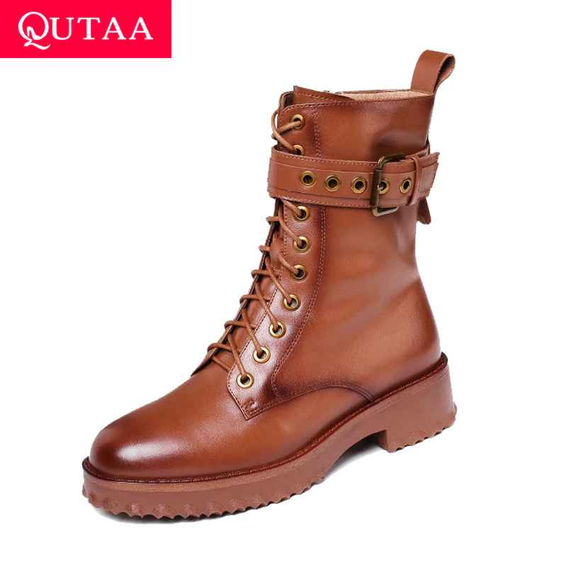 Qutaa 2020 Cow Leather Platform Lace Up Buckle Zipper Fashion