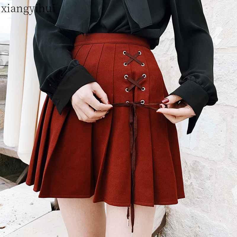 Skirts vintage gothic lolita skirt women ladies winter black red