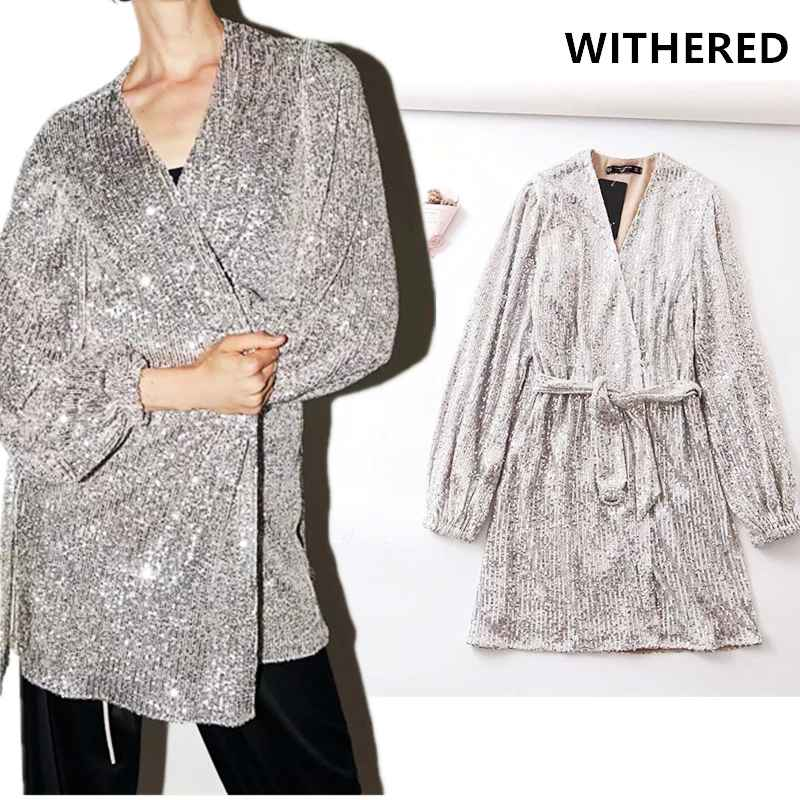 Blazers withered england vintage sequins v-neck sashes vestidos de fiesta