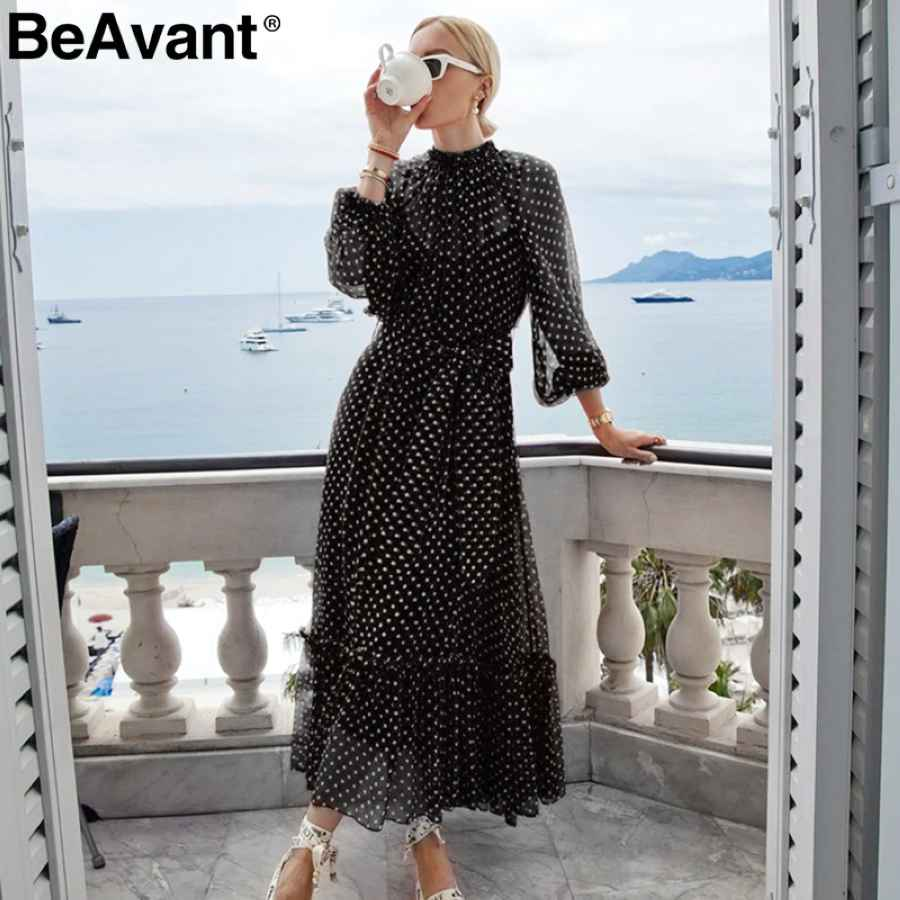 Polka Dot Red Autumn Winter Dress Women Elegant Lantern Sleeve