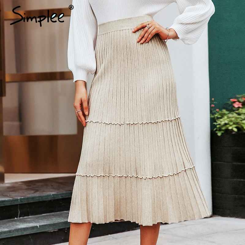 Skirts Simplee Elegant Solid A-Line Knitted Long Skirts Women 2019