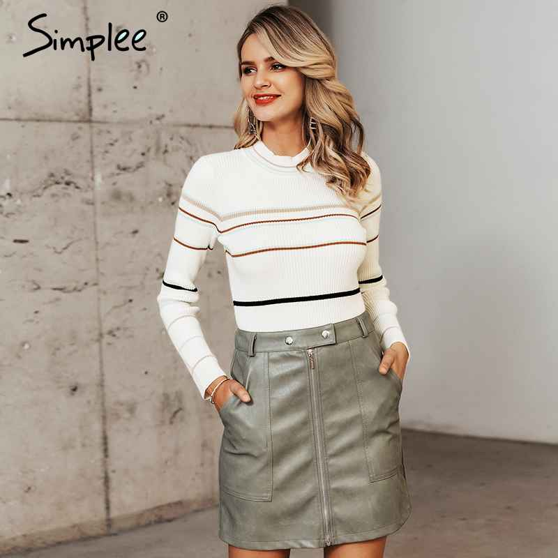 Pullover Jumpers Simplee Slim Striped Pullover Sweater Knitted Chic Stand
