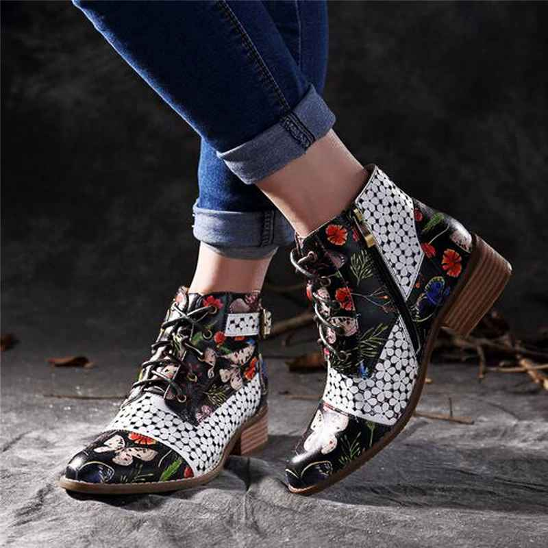 Winter Women Ankle Boots Ethnic Style Flower Printed Ladies Shoes