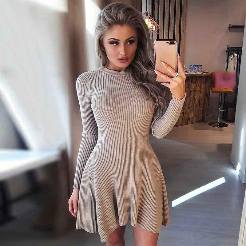 Womens Sets Women Long Sleeve Sweater Dress Womens Irregular Hem