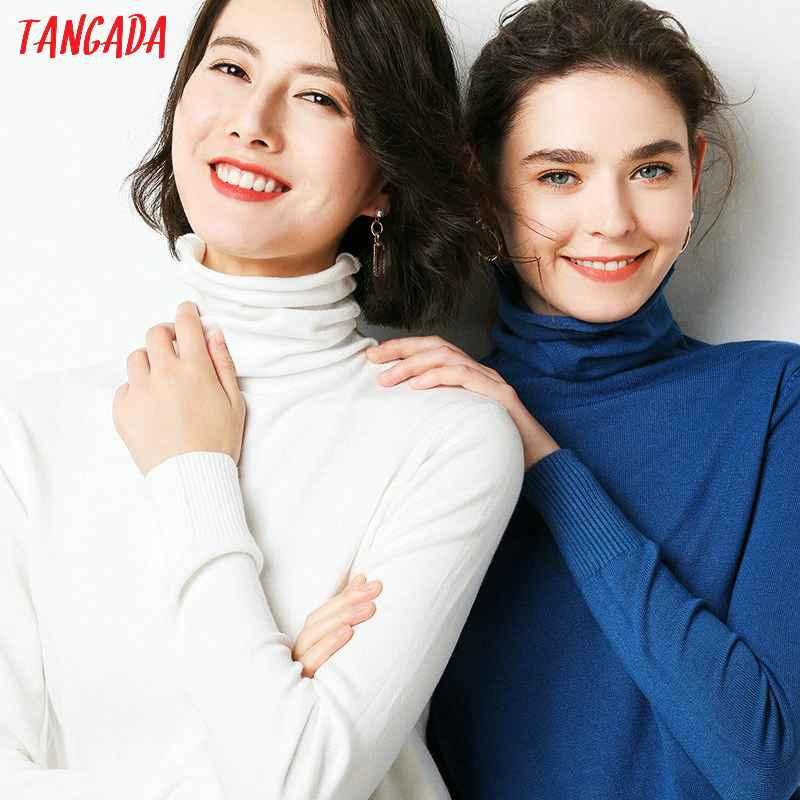 Sweaters tangada korean style women solid turtleneck sweater female long