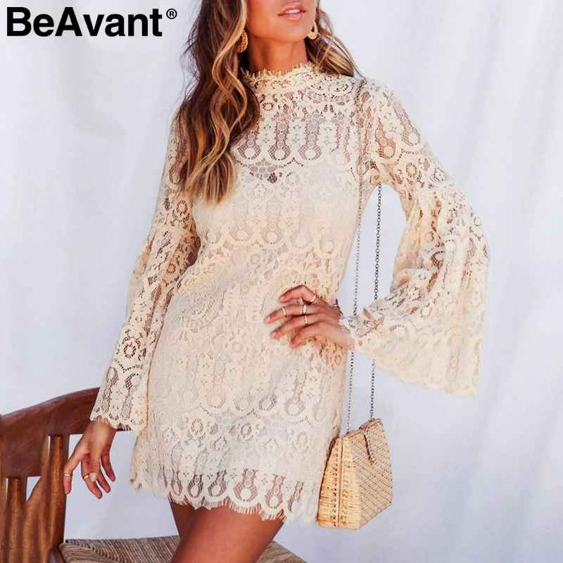 Lace Embroidery Dress Women Elegant Flare Sleeve Female Short Party