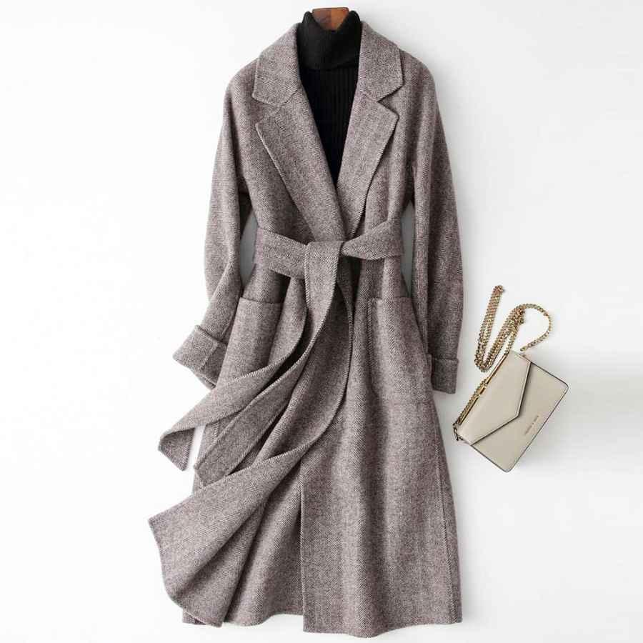 2019 Women Woolen Coat Elegant Turn Down Collar Women Long