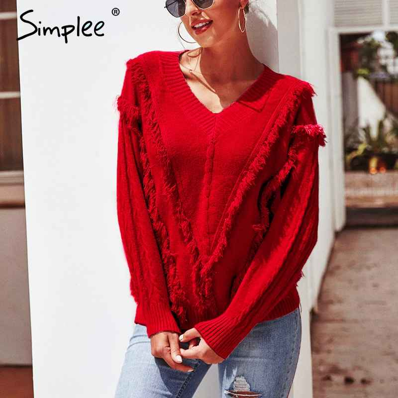 Pullover Jumpers Simplee V-Neck Pullover Fringed Sweater Women 2019 Oversize