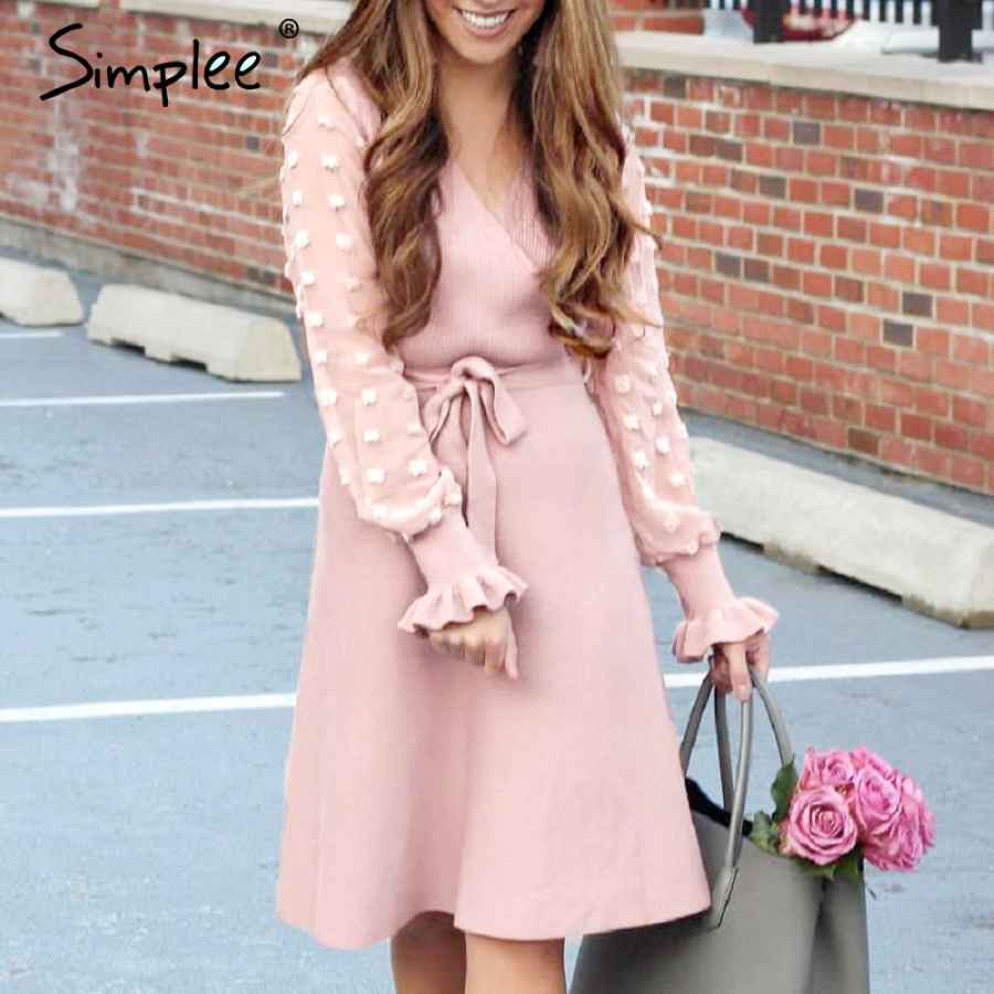 Elegant Women Knitted Dress V-Neck Long Sleeve Pleated Belted Female